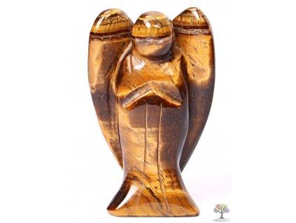 Anděl Tygří oko 50x30 mm - Anděl z přírodního kamene #06
