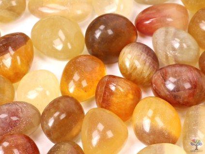 Tromlované kamínky Fluorit žlutý XL o velikosti 25 - 40 mm - 1kg - Brazílie