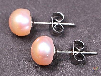 Náušnice Perly meruňkové 8 mm kuličky #60