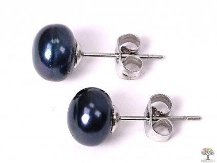 Náušnice Perly černé 8 mm kuličky #61  + až 10% sleva po registraci