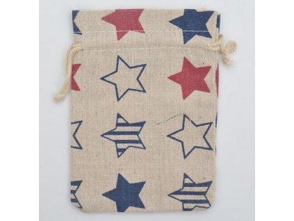 Dárková taška - pytlík béžová hvězda 10x12 cm - 47