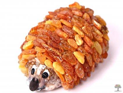 Jantarový ježek - jantar na mušli #01
