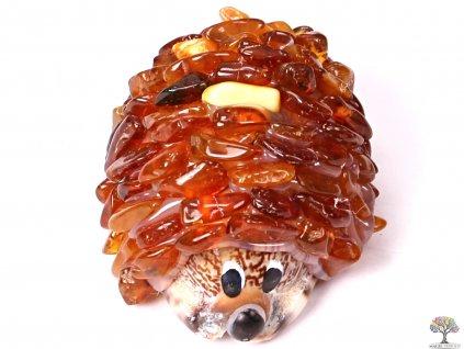 Jantarový ježek - jantar na mušli #02