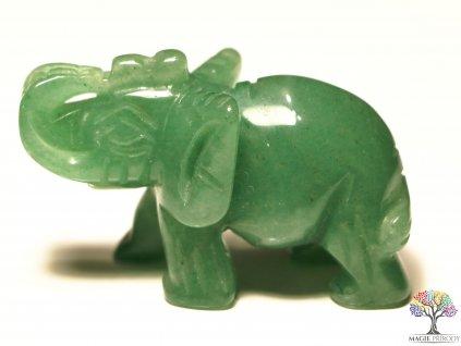 Slon Avanturín 30x50 mm - Slon z přírodního kamene #12