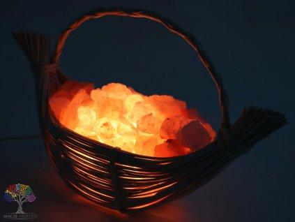 Solná lampa elektrická proutěný koš Loďka 3.60 Kg #40