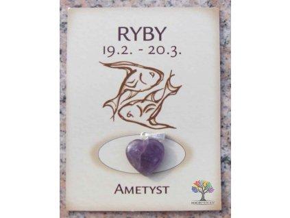 Kámen podle znamení - RYBY - tvar srdce