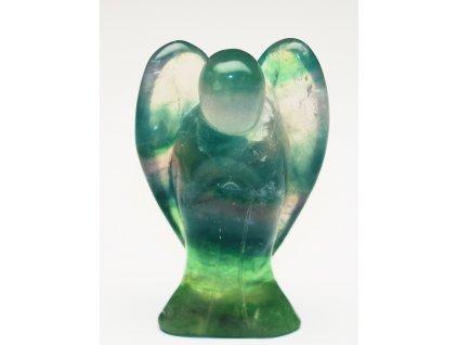Anděl Fluorit 50x35 mm - Anděl z přírodního kamene #222