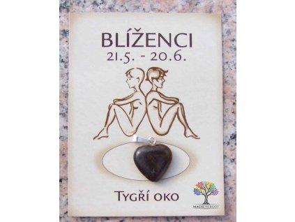 Kámen podle znamení - BLÍŽENCI - tvar srdce  + sleva 5% po registraci na většinu zboží + dárek k objednávce