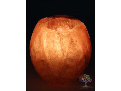 Solný svícen na svíčku soudek zdobený lístky - přírodní leštěný - 0.9 - 1.3 kg - solná lampa