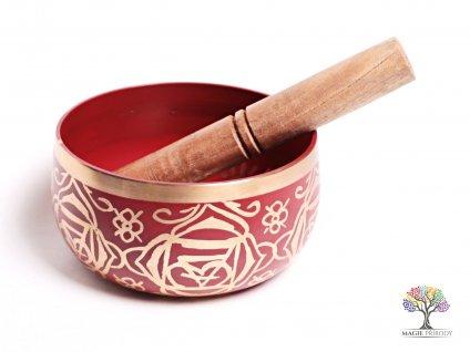 Tibetská miska 1. čakra červená - zpívající mísa 12 cm - 680 g s paličkou #06
