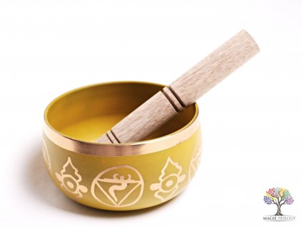 Tibetská miska 3. čakra žlutá - zpívající mísa 12 cm - 680 g s paličkou #08
