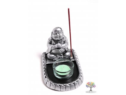 Stojánek na vonné tyčinky a svíčky - Buddha #18