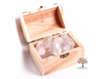 Magická truhlička s kamínky Křišťálu - velikost XL (30 - 55) mm - Brazílie