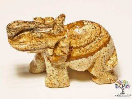 Slon Jaspis obrázkový 30x50 mm - Slon z přírodního kamene #3