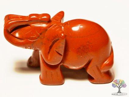 Slon Jaspis červený 30x50 mm - Slon z přírodního kamene #4