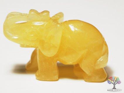Slon Kalcit žlutý 30x50 mm - Slon z přírodního kamene #6