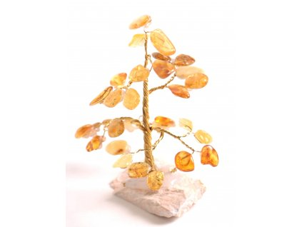 Jantarový stromeček štěstí 8 cm #29