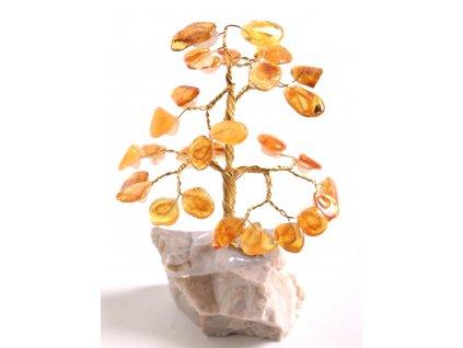 Jantarový stromeček štěstí 9 cm #35
