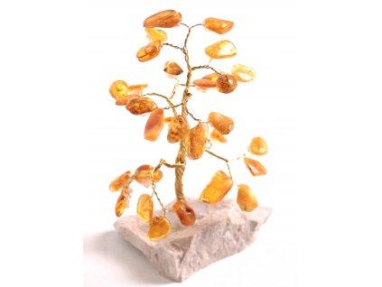 Jantarový stromeček štěstí 11 cm #46
