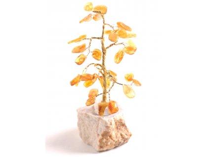 Jantarový stromeček štěstí 13 cm #47