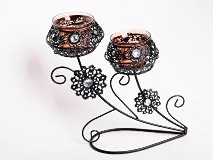 Svícen na 2 svíčky - kovový zdobený 23 cm #24