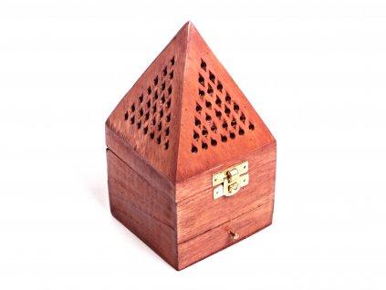 Dřevěná kadidelnice - pyramida se šuplíkem na františky - vykuřovadlo #19