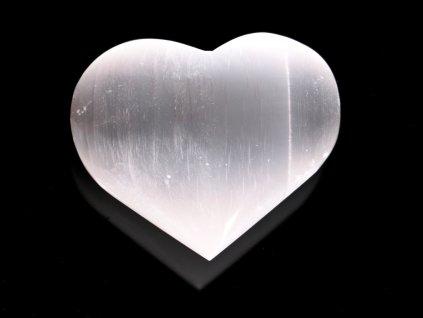 Srdce Selenit 70x60 mm - Selenitové srdce z přírodního kamene #240