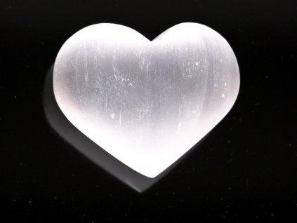 Srdce Selenit 80x70 mm - Selenitové srdce z přírodního kamene #241