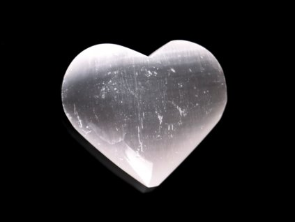 Srdce Selenit 50x40 mm - Selenitové srdce z přírodního kamene #244