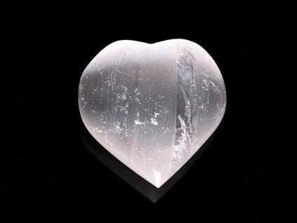Srdce Selenit 55x45 mm - Selenitové srdce z přírodního kamene #245