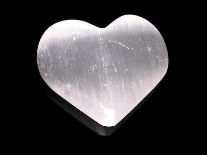 Srdce Selenit 55x45 mm - Selenitové srdce z přírodního kamene #246