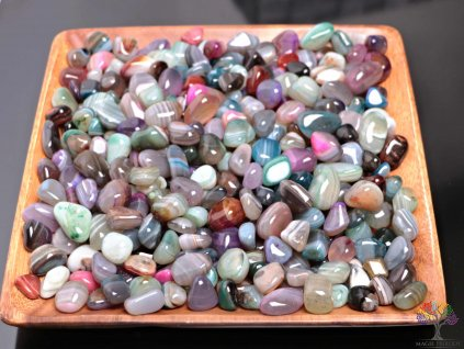 Tromlované kamínky Achát MIX - M - kameny o velikosti 20 - 40 mm - 100 g - Brazílie