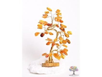 Jantarový stromeček štěstí 13 cm - B0 - #66  + až 10% sleva po registraci