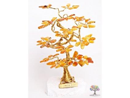 Jantarový stromeček štěstí 18 cm - B2 - #73