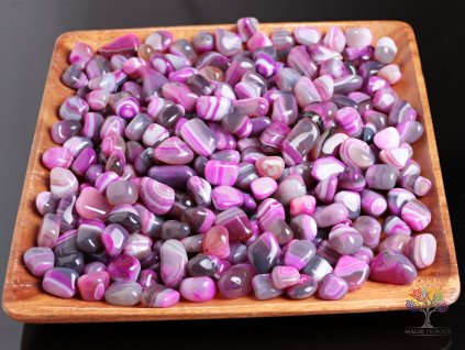 Tromlované kamínky Achát růžový - M - kameny o velikosti 20 - 40 mm - 1kg - Brazílie