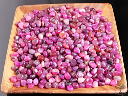 Tromlované kamínky Achát růžový - S/M - kameny o velikosti 15 - 30 mm - 100 g