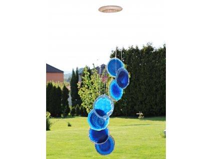 Achátová zvonkohra modrá - z přírodního kamene #05 - náhodný výběr