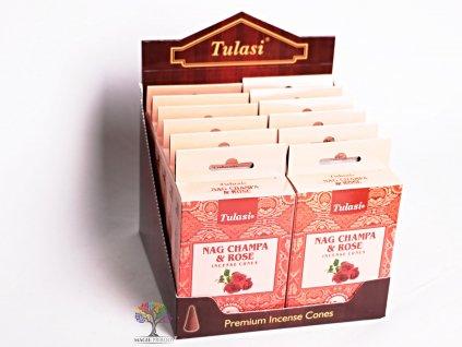 Vonné františky Tulasi Nag Champa Rose - Růže 15 ks - #09  + až 10% sleva po registraci
