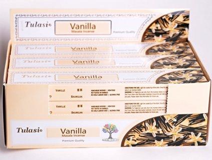 Vonné tyčinky Tulasi Premium Vanilla - vůně vanilky - 12 ks - #33  + až 10% sleva po registraci