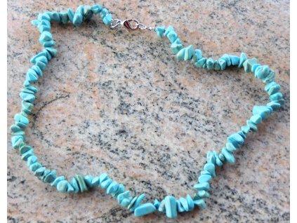 Náhrdelník Tyrkenit tyrkys tromlovaný #32 - z přírodních kamenů  + sleva 5% po registraci na většinu zboží + dárek k objednávce
