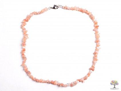 Náhrdelník sekaný - Měsíční kámen oranžový- tromlovaný - 69