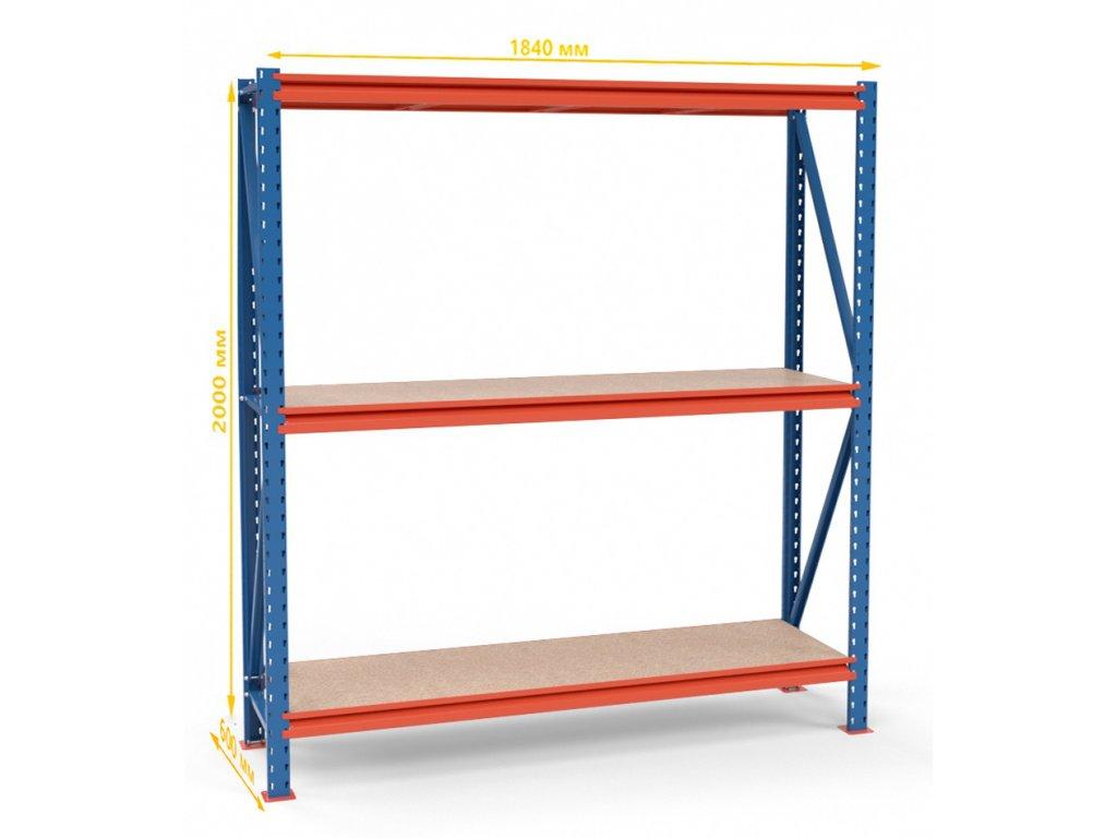 Végtelen ipari állvány 2000x1830x600 3-polc, teherbírás 2700 kg -alap egység