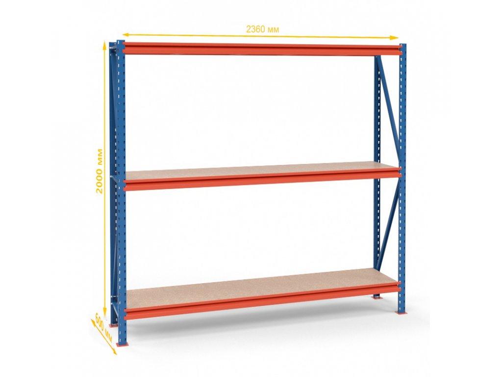 Végtelen ipari állvány 2000x2350x600 3-polc, teherbírás 2700 kg -alap egység