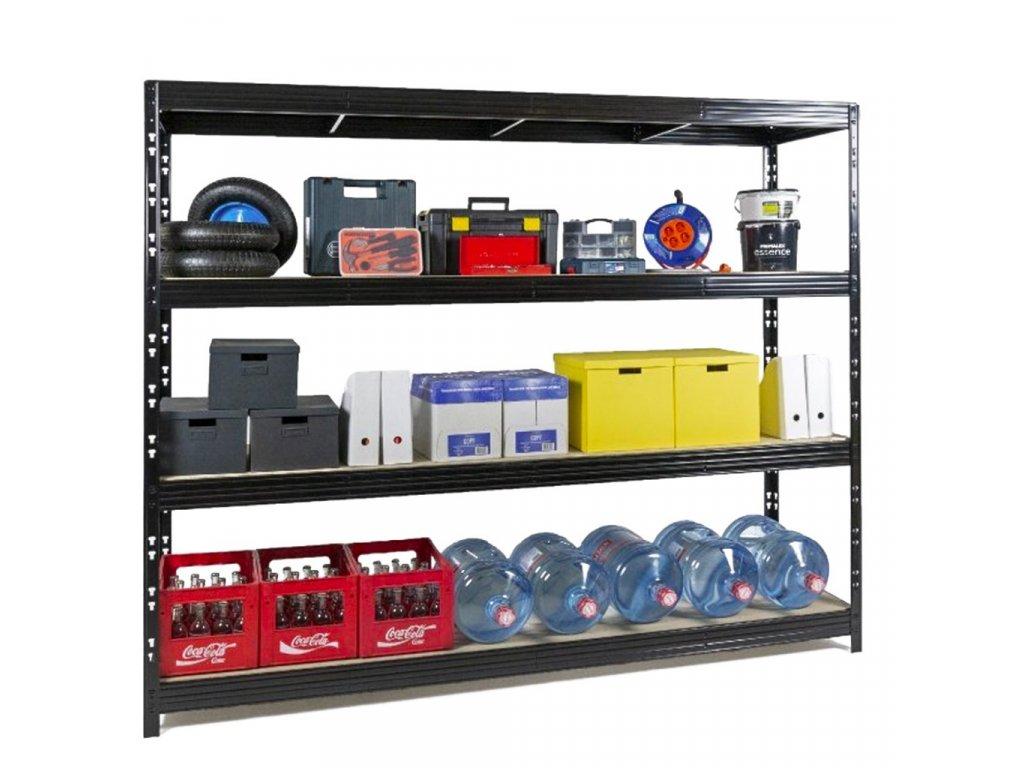 AKCIÓS, 5 DARABOS CSOMAG Ipari PROFI állványok 2000x2370x600 mm lakkozott 4-polc, teherbírás 2000 kg