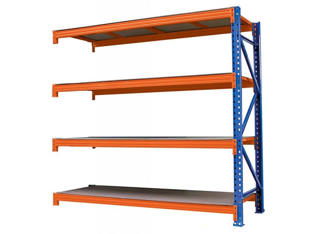 Végtelen ipari Salgó polc 2400x2400x800 4-polc, teherbírás 3600 kg -hozzácsatolható Salgó polc