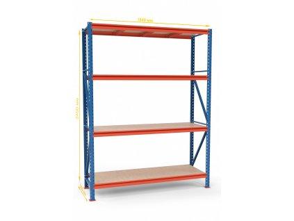 Végtelen ipari állvány 2400x1830x600 4-polc, teherbírás 3600 kg -alap egység
