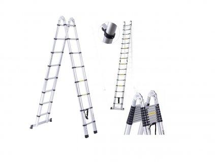 PROFI teleszkópos létra 2x8 fokos, munkamagasság 6,3m