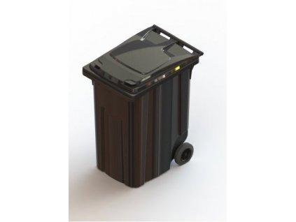 Műanyag szemetes kuka, 360 liter űrtartalom - FEKETE