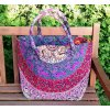 Textilní taška s mandalou - fialovo-modrá, velká kabelka, plážová taška, indická kabelka, DOPRAVA ZDARMA