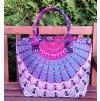 Mahari -  Textilní taška s mandalou - růžovo-fialová, velká kabelka, plážová taška, indická kabelka, DOPRAVA ZDARMA